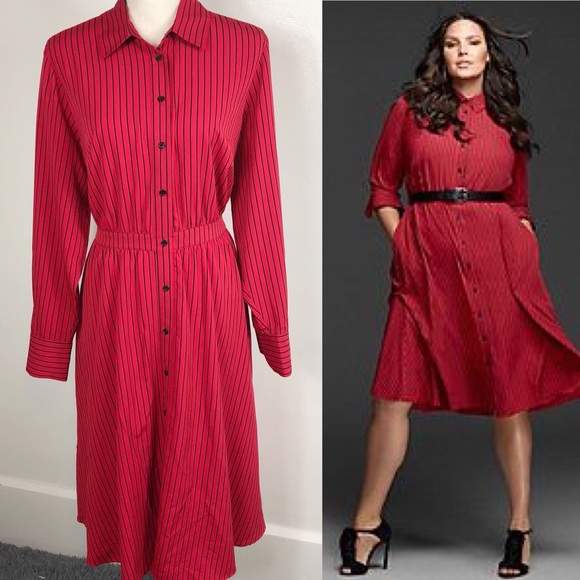 e6796e6c62d Lane Bryant Dresses   Skirts - Glamour x Lane Bryant Red Striped Shirtdress  14
